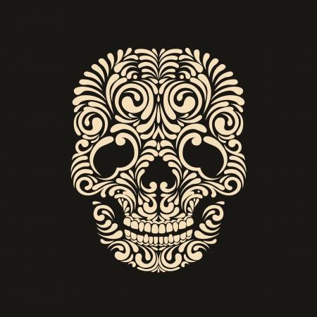 skull and flowers: Cr�neo adornado amarillento en el fondo negro Vectores