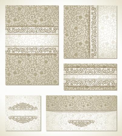 ビンテージ スタイルの結婚式のカードのセット