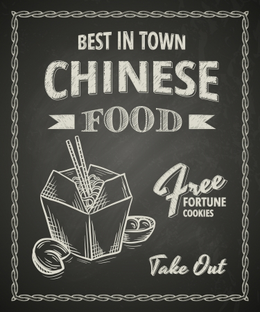 Chinese food poster on black chalkboard 일러스트