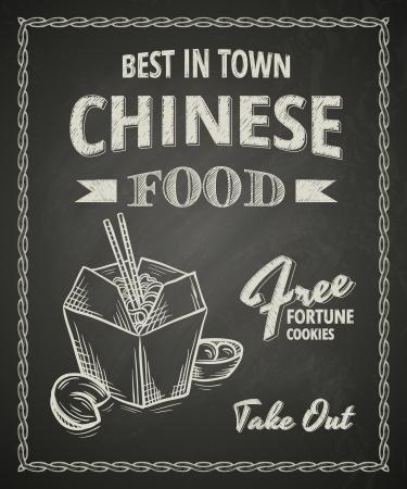 Chinese food poster on black chalkboard Illustration
