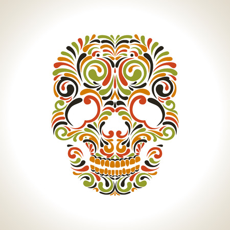 Colorfull ornate scull on white background Çizim