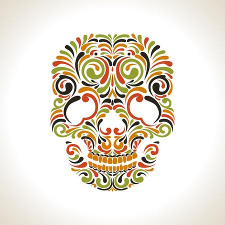 Colorfull ornate scull on white background Illustration