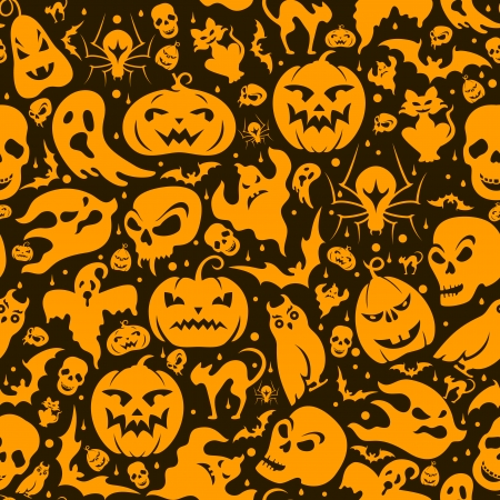 Halloween seamless pattern with pumpkin, cat, bat, ghost, skull, etc