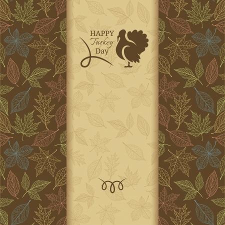 잎 패턴과 칠면조 추수 감사절 인사말 카드