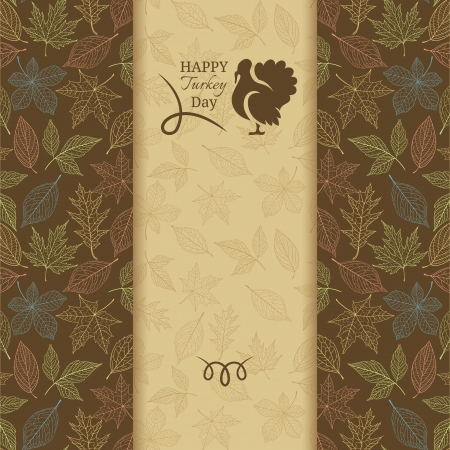 Thanksgiving greeting card with leaf pattern and turkey Vectores