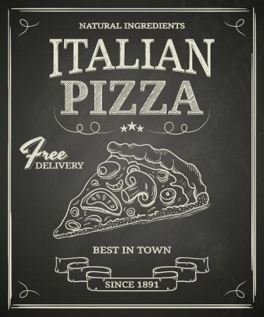 イタリアのピザ黒黒板上ポスター
