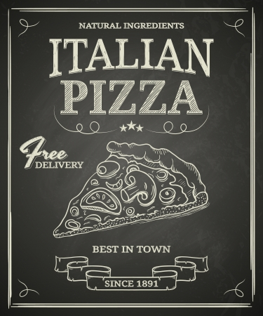 cuisine: Italian pizza poster on black chalkboard