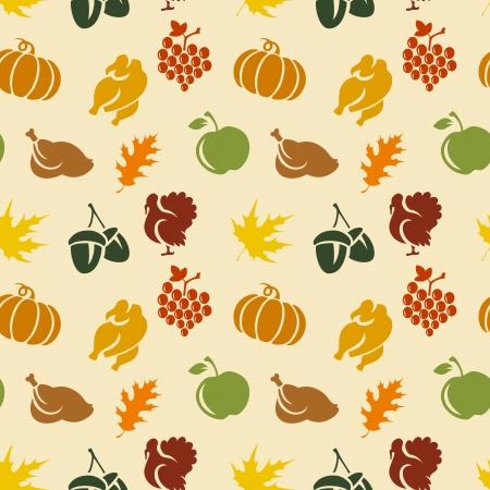 thanksgiving day symbol: Ringraziamento senza soluzione di continuit� con le foglie. tacchino, zucca, ecc