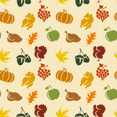 Thanksgiving seamless pattern with leaves. turkey, pumpkin, etc  Vector