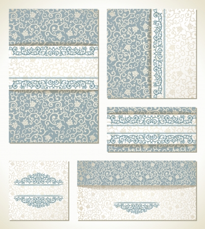 Set of wedding cards in vintage style Vector