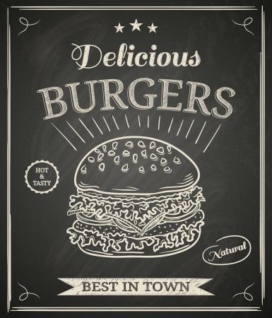 칠판에 햄버거 집 포스터