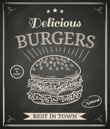 Burger house poster on chalkboard Vector