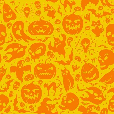 halloween spider: Halloween seamless pattern with pumpkin, cat, bat, ghost, skull, etc