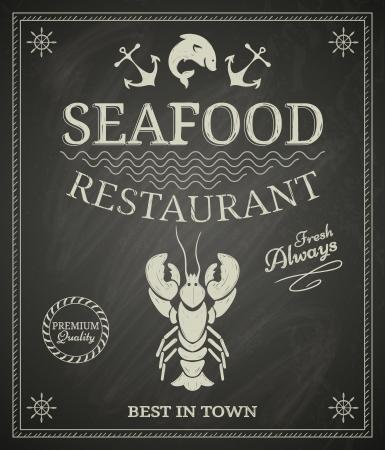 黒板にシーフード レストラン ポスター
