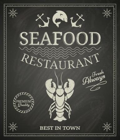 Seafood restaurant poster on chalkboard Vettoriali