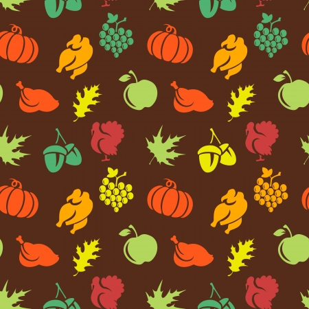 Thanksgiving seamless pattern with leaves. turkey, pumpkin, etc Stock Vector - 22526881
