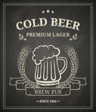 Cartel de la cerveza fr�a en la pizarra