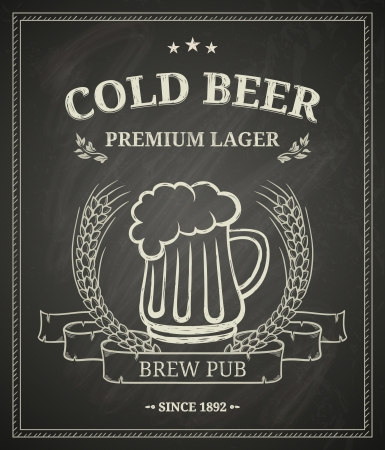 Cold beer poster on chalkboard Vector