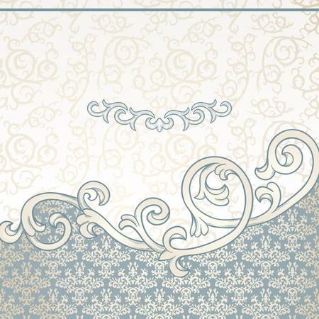 bordes decorativos: Fondo de la vendimia con la frontera floral y modelo del damasco