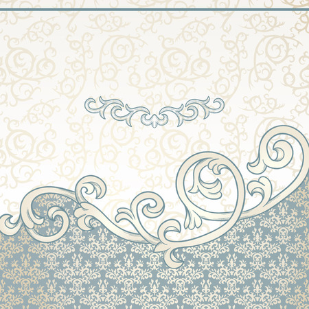 Vintage background with floral border and damask pattern 矢量图像