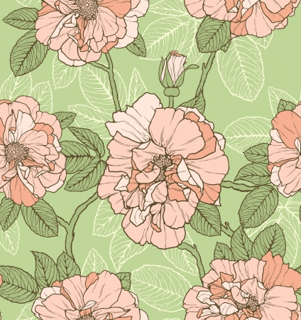 Floral seamless pattern with pink roses on green background Stock Vector - 22526884