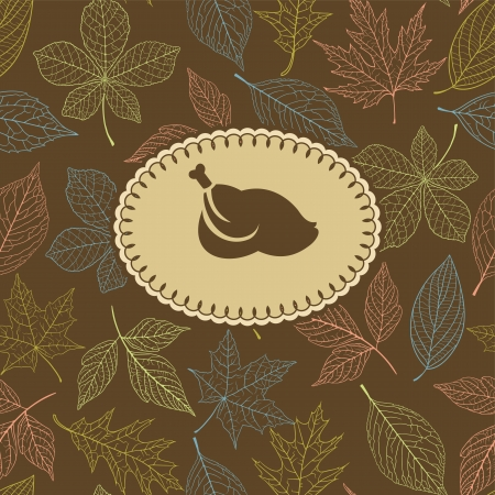 Autumn background with round frame at the center. Could be used for Thanksgiving greeting card Stock Vector - 23269268