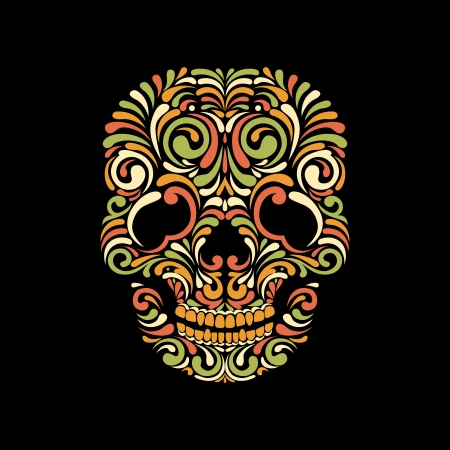 Ornate scull on black  background. Bright and Colorful Vector
