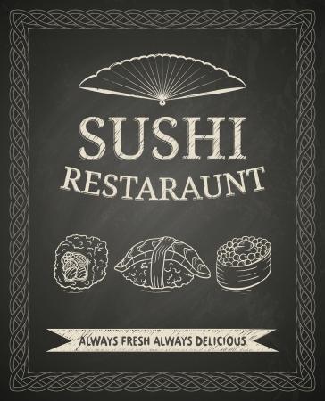 Sushi poster on black chalkboard