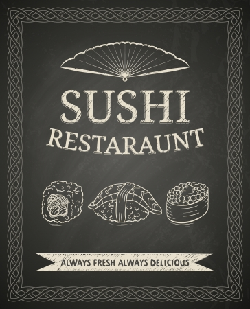 Sushi poster on black chalkboard Vector