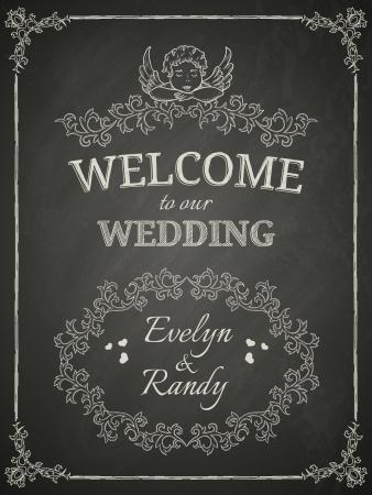 pareja comiendo: Cartel de la boda en el pizarrón negro Vectores