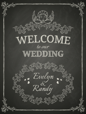 couple date: Wedding poster on black chalkboard