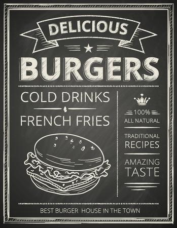 meny: Burger affisch stiliserade som skiss ritning på chalkboard.Vector illustrationen.