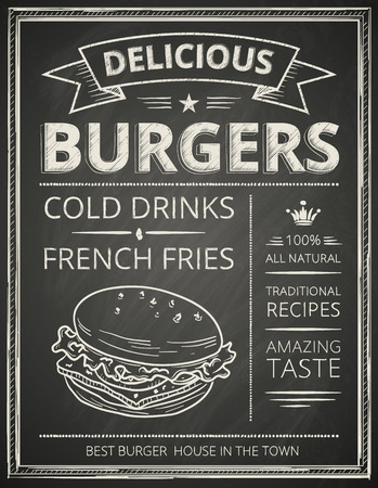 delicious: Burger poster stylized like sketch drawing on the chalkboard.Vector illustration.