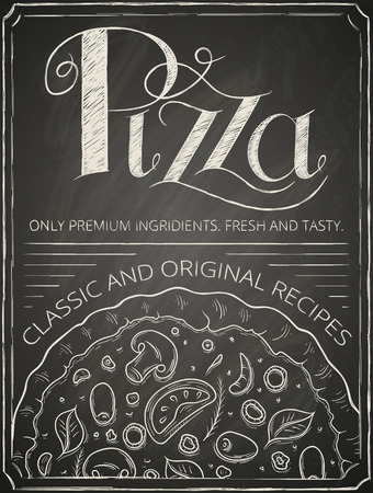 Pizza poster stylized like sketch on the chalkboard. Vector illustration