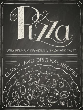 Pizza poster stylized like sketch on the chalkboard. Vector illustration