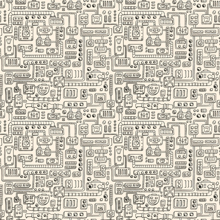 technology abstract background: Seamless pattern with some kind of electrical appliances.