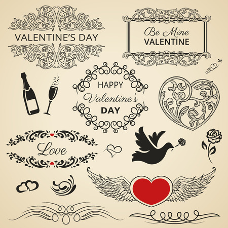 Collection of vintage Valentines Day design elements. Vector
