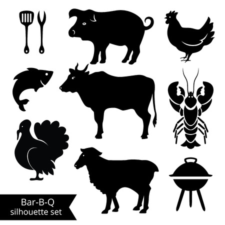 roast lamb: Set of BBQ silhouettes on white background. Could be used as Illustration