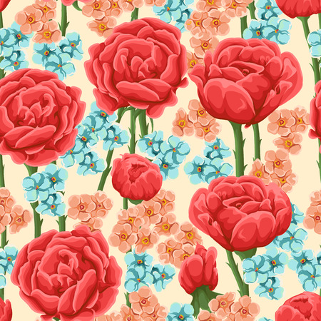Floral pattern with bright res roses and small pink and blue flowers. Vector