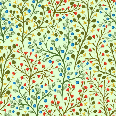 blue berry: Floral seamless pattern with flowers, leafs and berries.