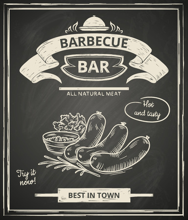 meat dish: BBQ poster stylized like sketch drawing on the chalkboard.Vector illustration.