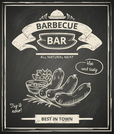 chorizos asados: Cartel barbacoa estilizado como el dibujo boceto de la ilustraci�n chalkboard.Vector.