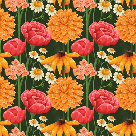 Floral seamless patterns with roses, chamomile and other flowers Vector