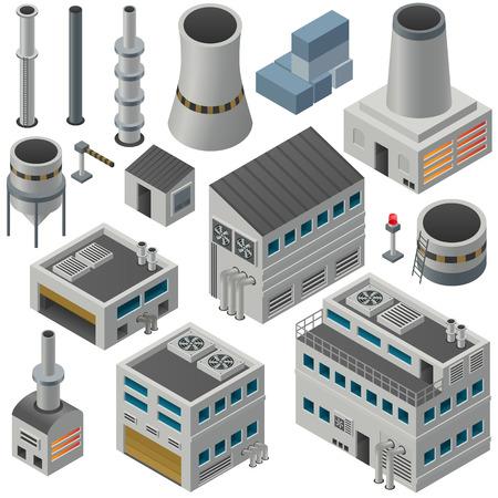 industriales: Enorme colecci�n de edificios industriales isom�tricos y otros objetos, pueden combinarse para crear gran �rea industrial. Vectores
