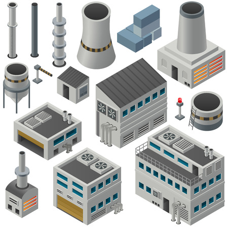 building industry: Huge collection of isometric industrial buildings and other objects, Could combine together in order to create big industrial area. Illustration
