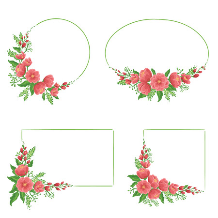 Set of four floral frames in different shapes Illustration