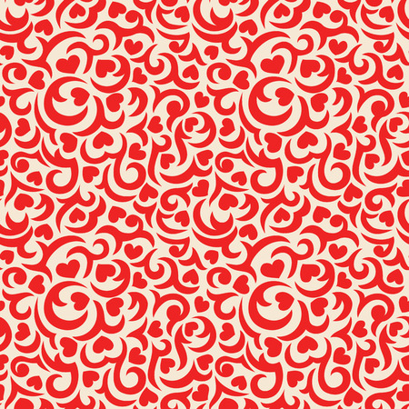 Romantic seamless pattern with red curls and hearts Иллюстрация