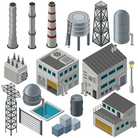 industry: Huge collection of isometric industrial buildings and other objects, Could combine together in order to create big industrial area. Illustration