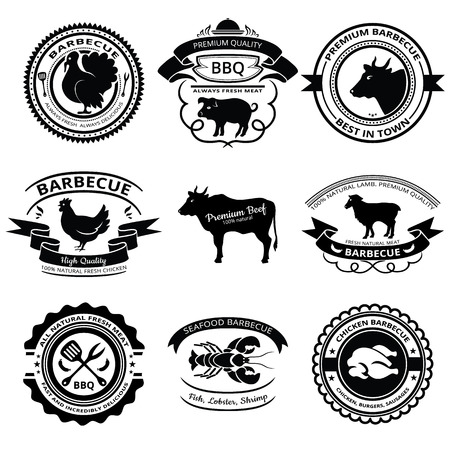 Set of nine BBQ labels with animals silhouettes. Vector