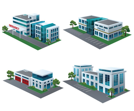 Set of perspective community buildings: hospital, fire station, police and office building. Ilustração
